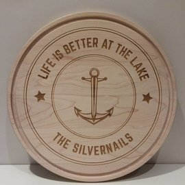 Personalized Round Cutting Board, Life is Better at the Lake