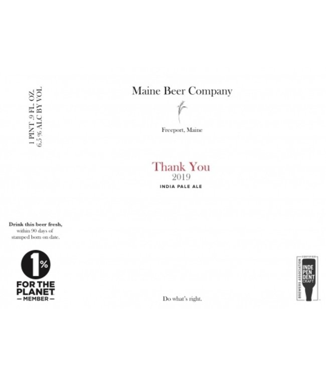 Maine Beer Co Thank You 2021