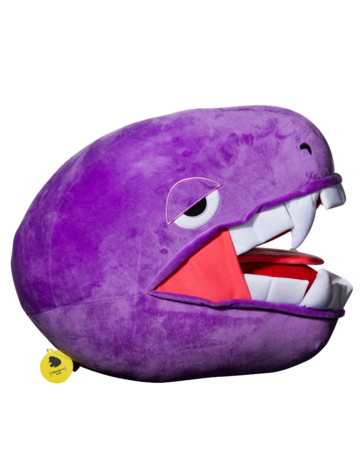 Elbo Purple Drop: Purple Open Mouth Plushie Head Pillow