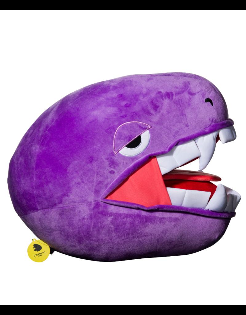 Elbo Purple Drop: Purple Open Mouth Plushie Head Pillow