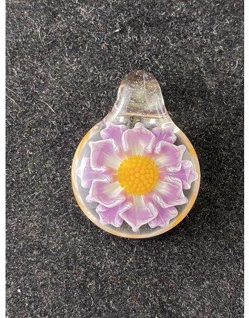 Glass By Blake Medium Flower Pendant: Purple, White Yellow