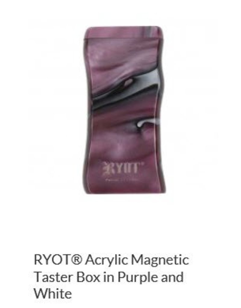 RYOT 3 Inch Purple/white Acrylic Dugout - Magnetic Poker Box From Ryot