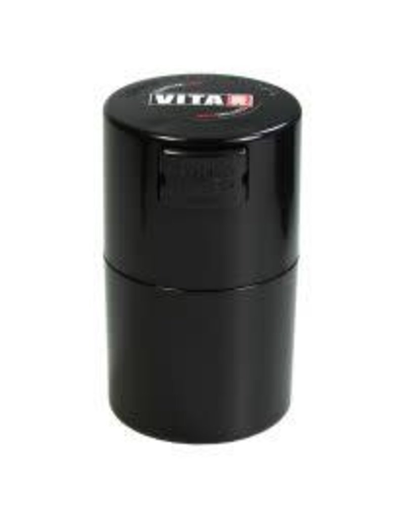Tightvac Vitavac Black 0.7oz - Air Tight Waterproof Smell Proof Storage Jar With Colored Lid From Tightvac