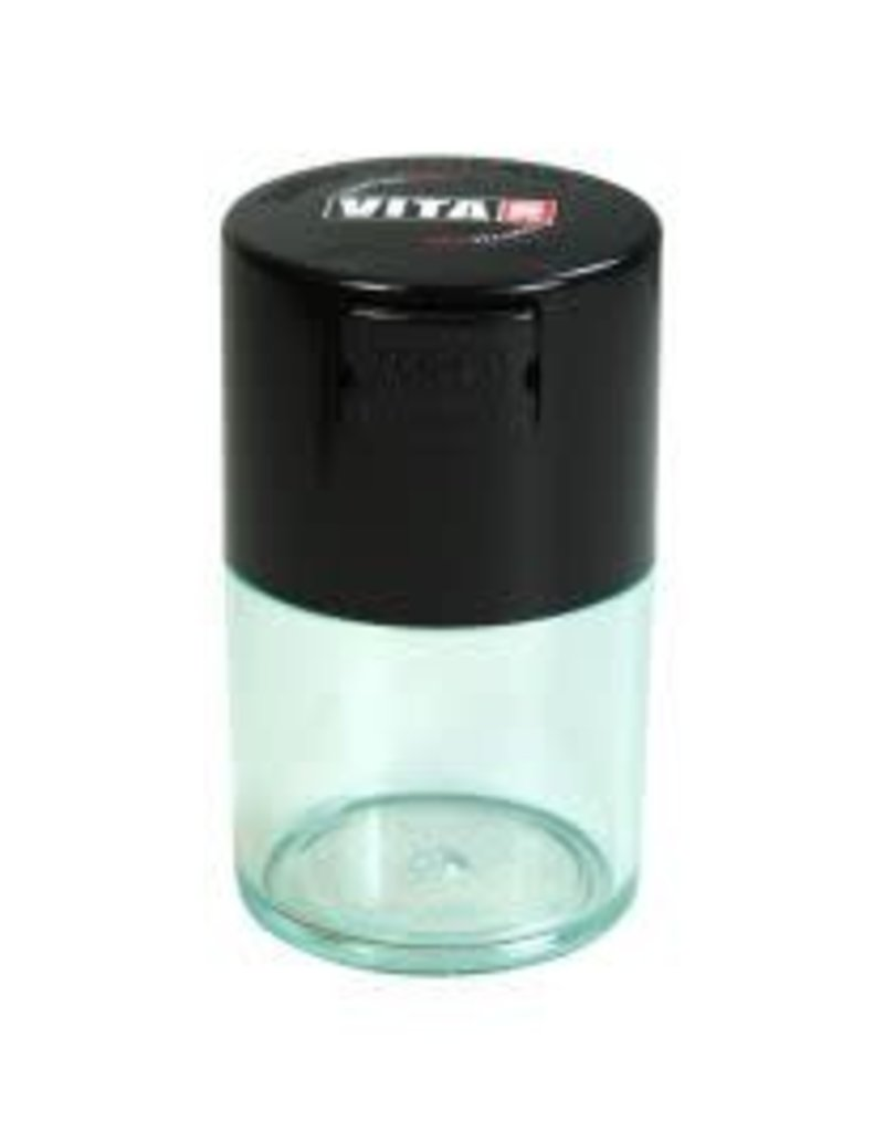 Tightvac Vitavac Clear .7oz - Air Tight Waterproof Smell Proof Storage Jar With Colored Lid From Tightvac