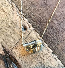 Eco Resin Half Moon Necklace, Gold Leaf, Mini