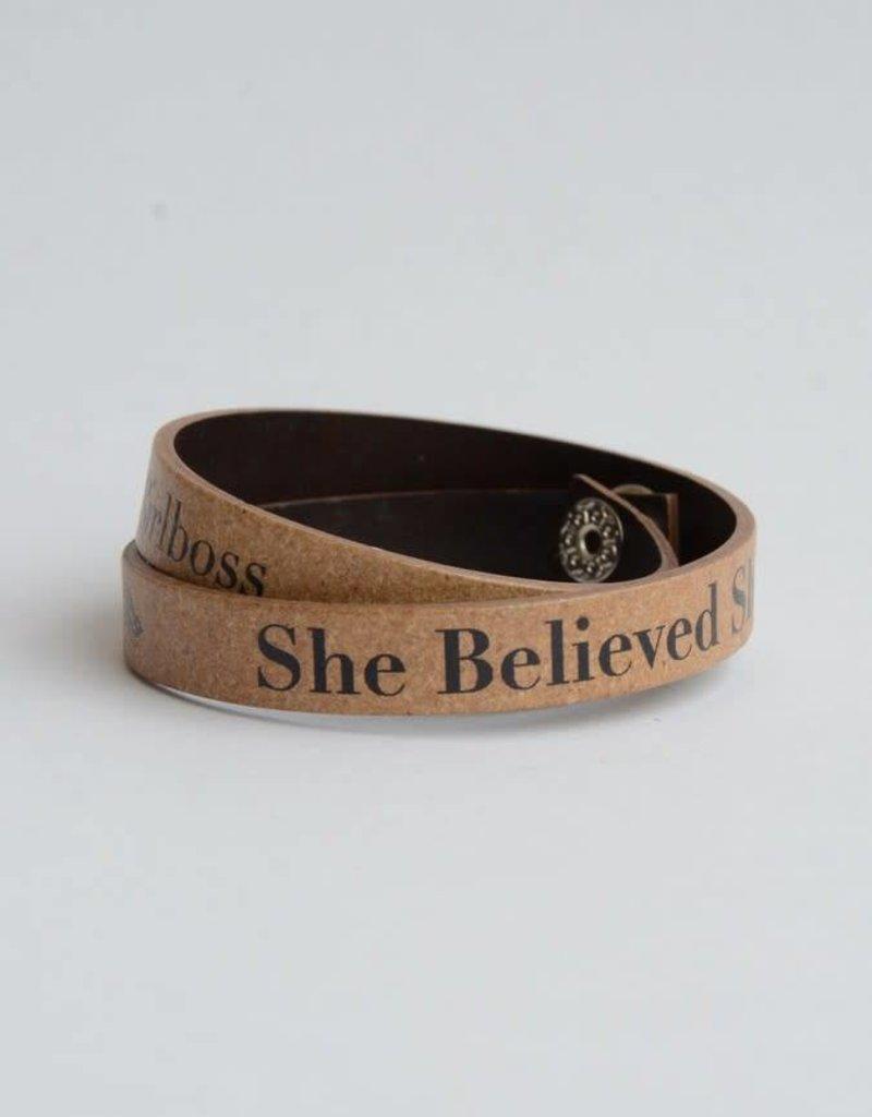 Leather Inscribed Wrap Bracelet