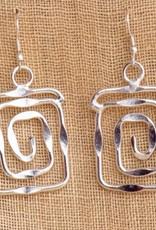 feb19 India, Silver Spiral Earrings