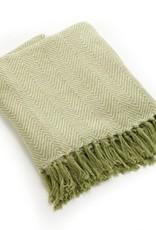 India, Rethread Cotton Throw, Green Herringbone