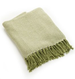 India, Rethread Cotton Throw, Green Herringbone