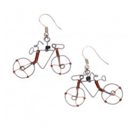 Bicycle Cycling Whimsy Earrings, Kenya