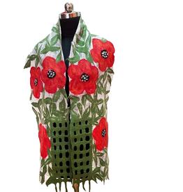 Nepal, Felted Poppy Garden Scarf