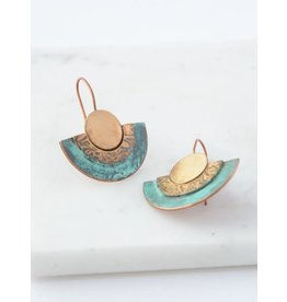 Pueblo Patina Copper and Brass Earrings