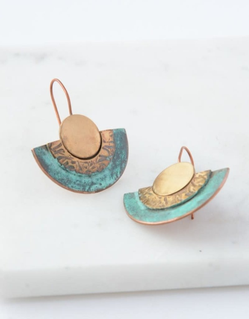 Chile, Pueblo Patina Copper and Brass Earrings