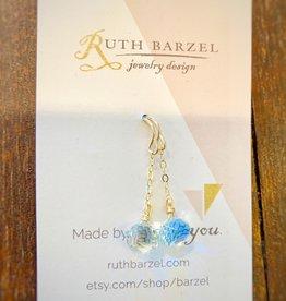 Ruth Barzel Mid-Length Green Amethyst Earrings
