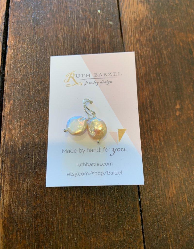 Ruth Barzel Coin Pearl Earrings