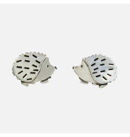 Sterling Silver Hedgehog Post Earrings, Mexico