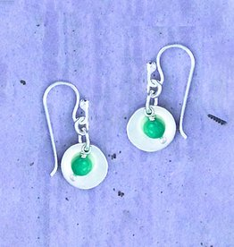 Circle with Turquoise Sterling Earrings