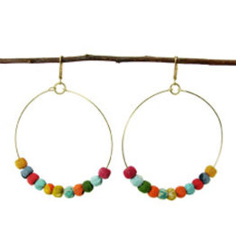 India, Kantha Beaded Hoop Earrings