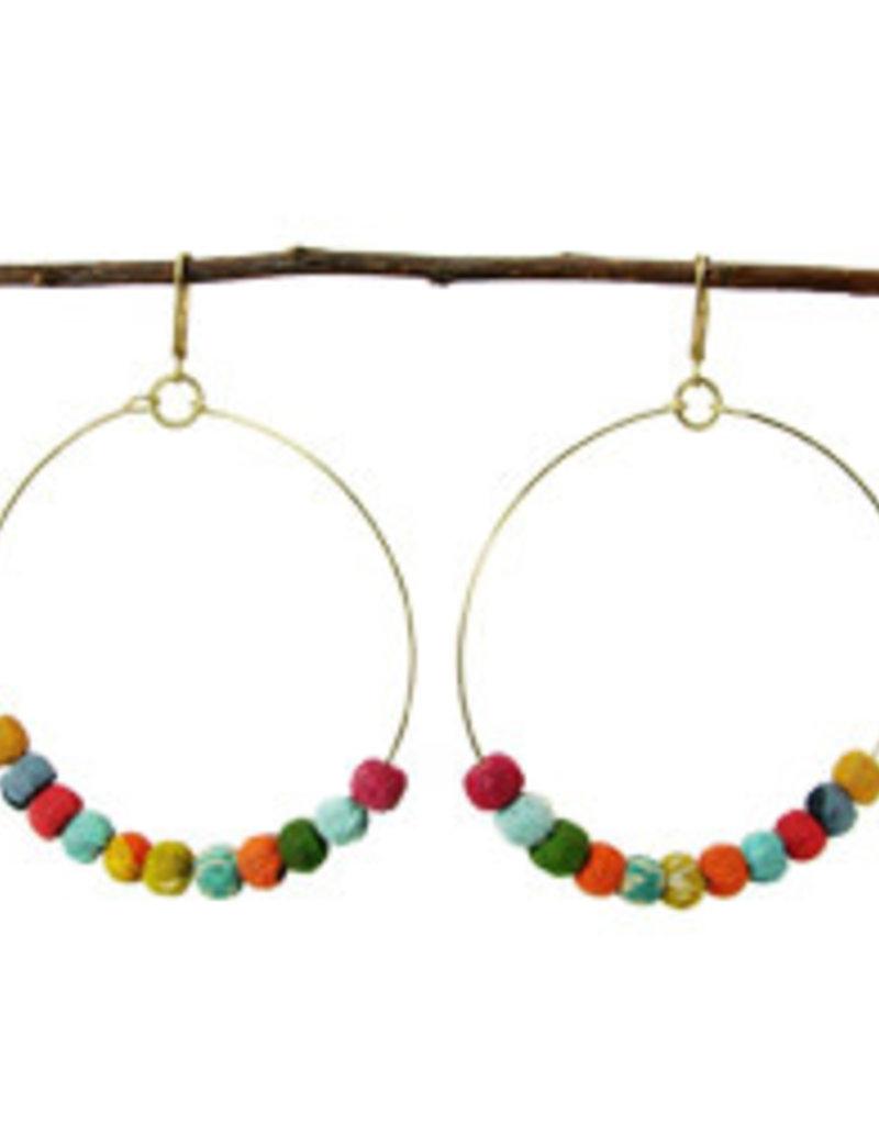 India, Kantha Beaded Hoop Earrings