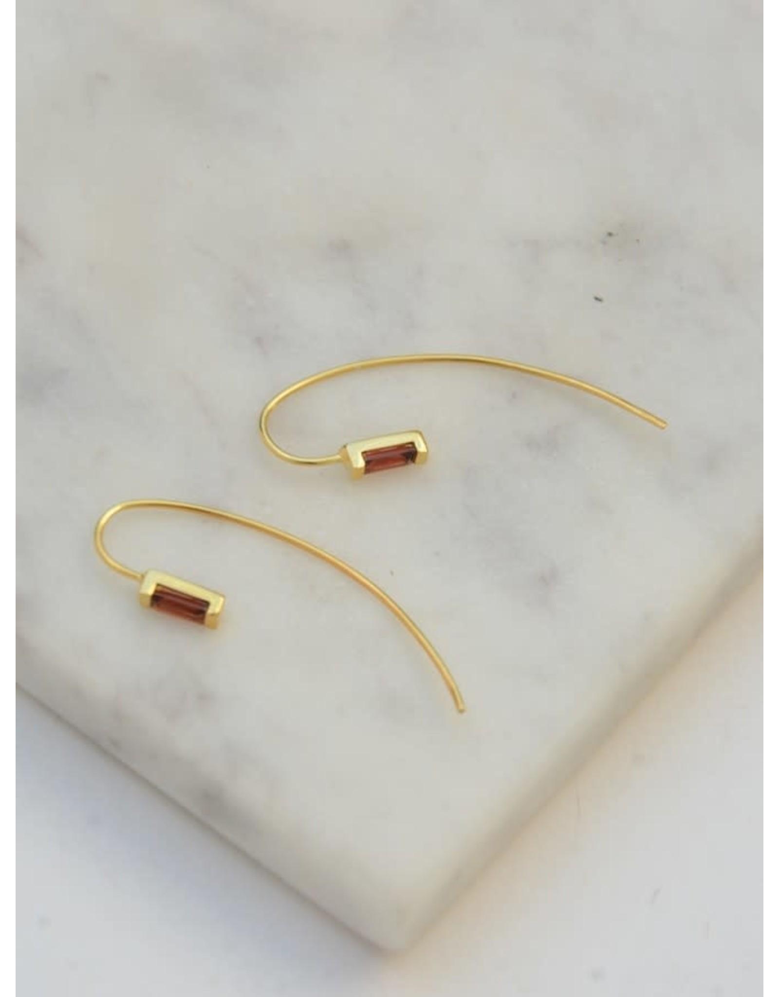 Prism Brass Earrings - Garnet
