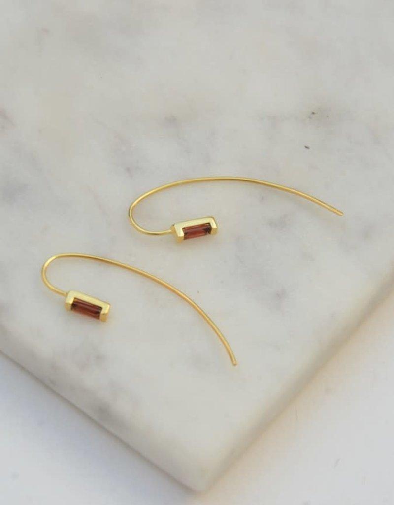 India, Prism Brass Earrings - Garnet
