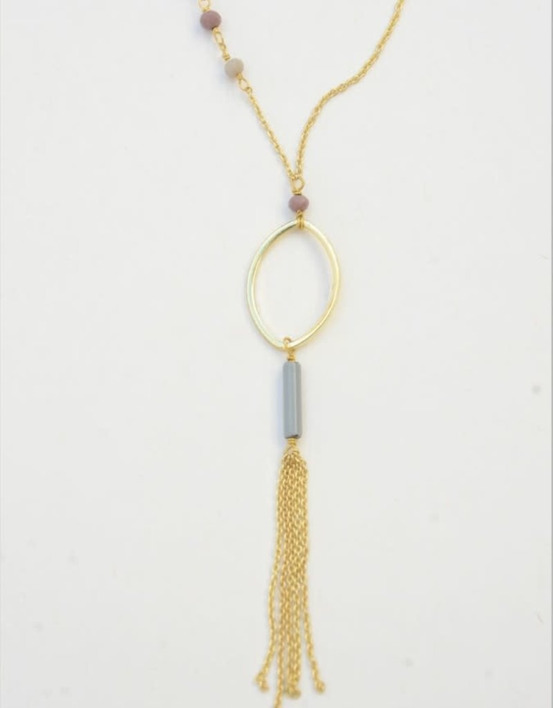 India, Lavender Loop Tassel Necklace