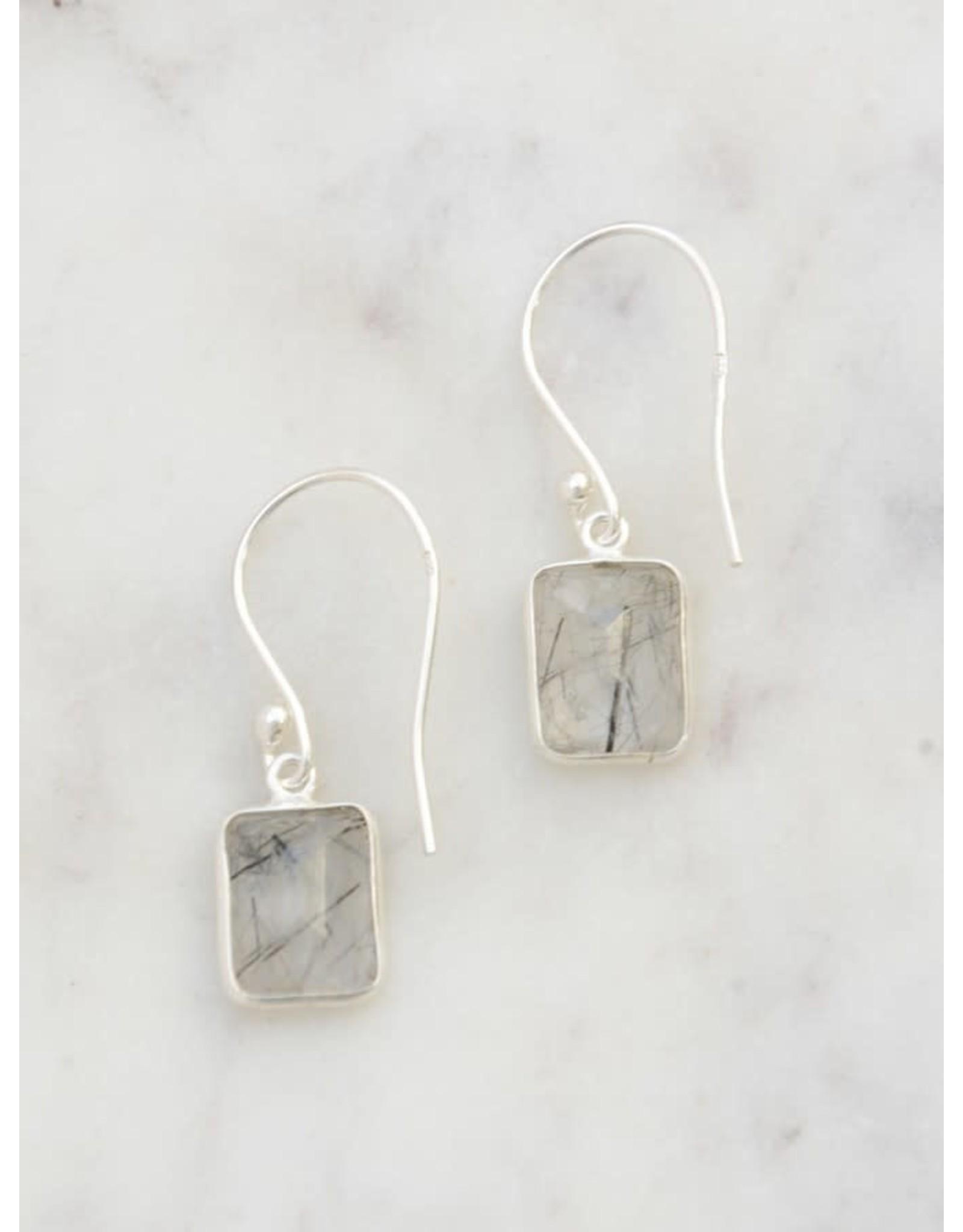 Stone Window Sterling Earrings, Black Rutile, India