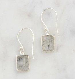 India, Stone Window Sterling Earrings - Black Rutile