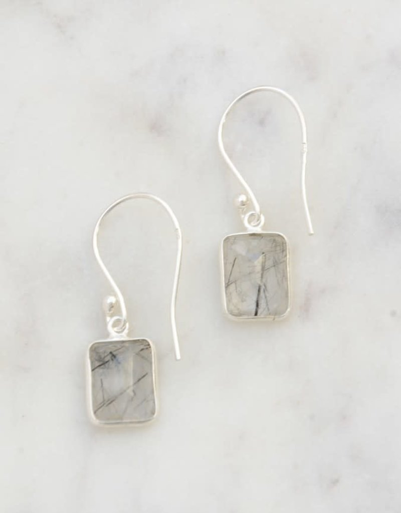 India, Stone Window Sterling Earrings - Black Rutile