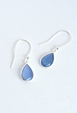 Raindrop Sterling Earrings - Blue Chalcedony