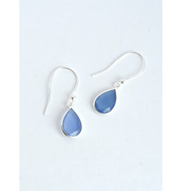 Raindrop Sterling Earrings, Blue Chalcedony, India