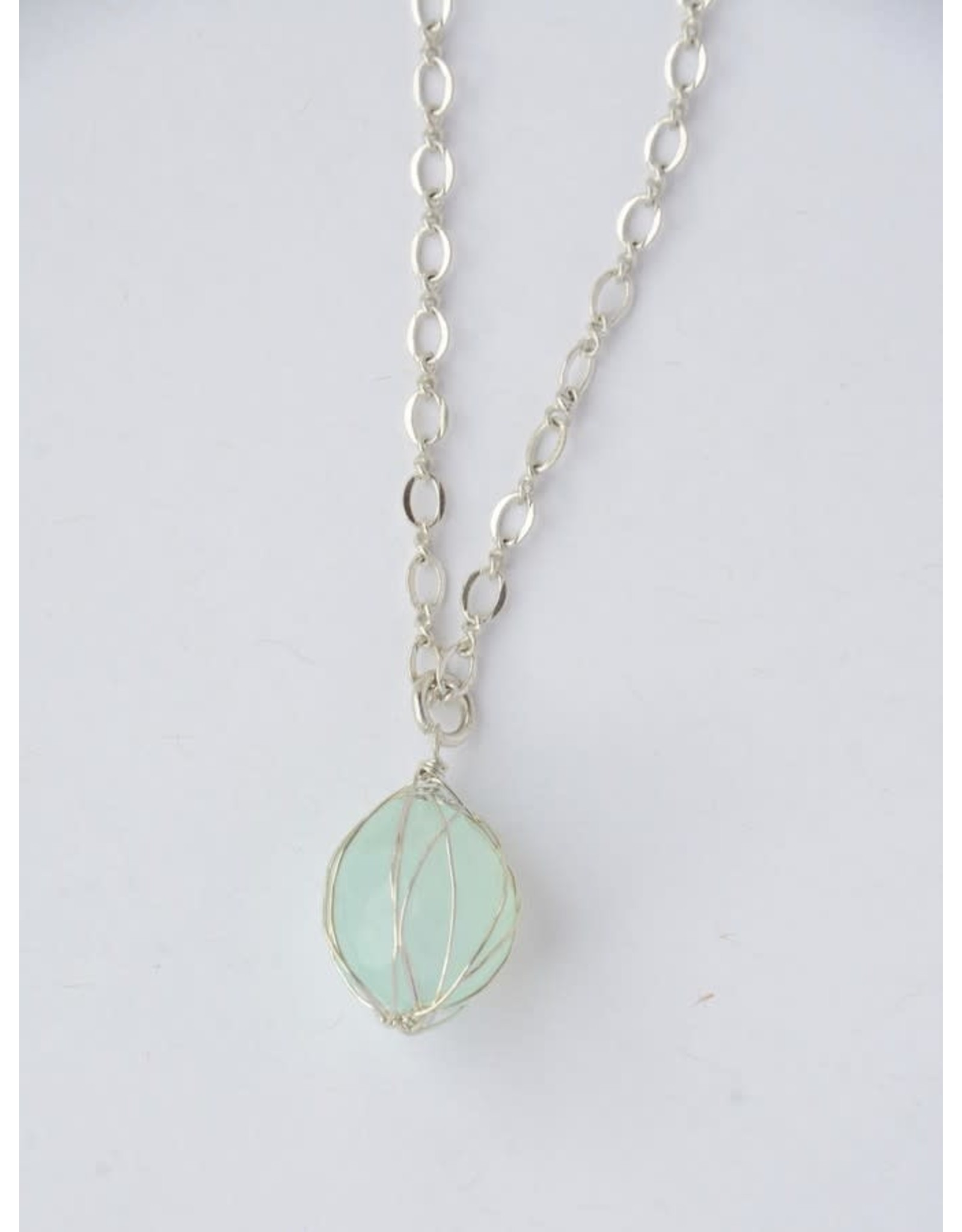 Teal Stone Wrap  Necklace - Silver, India