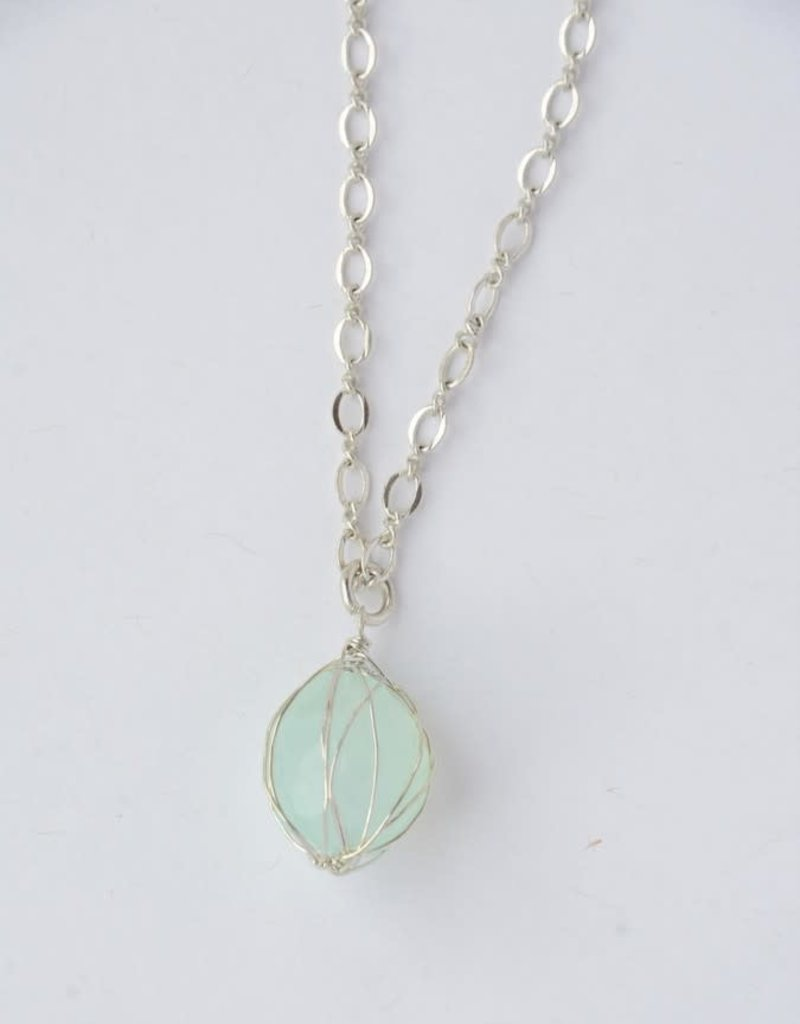 India, Teal Wrap Stone Necklace - Silver