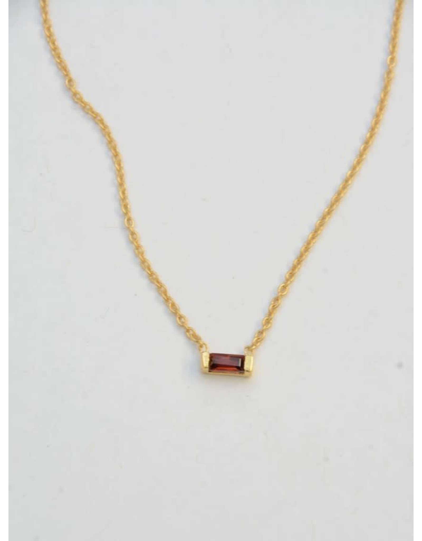 Prism Brass Necklace - Garnet, India