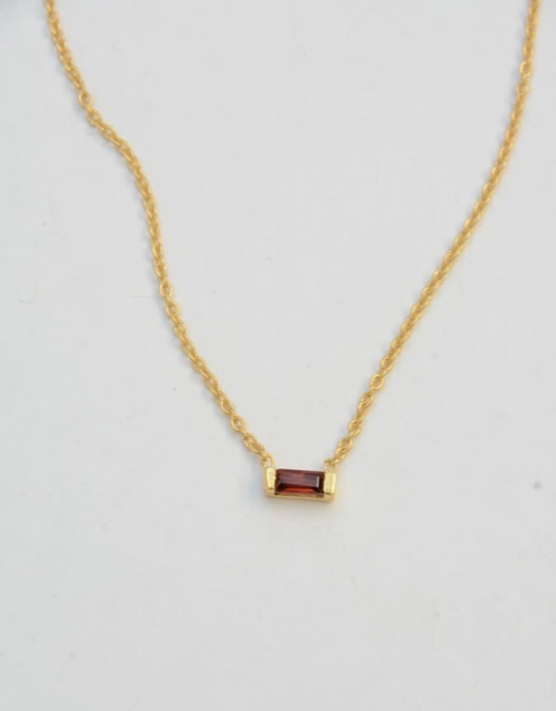 Prism Brass Necklace - Garnet