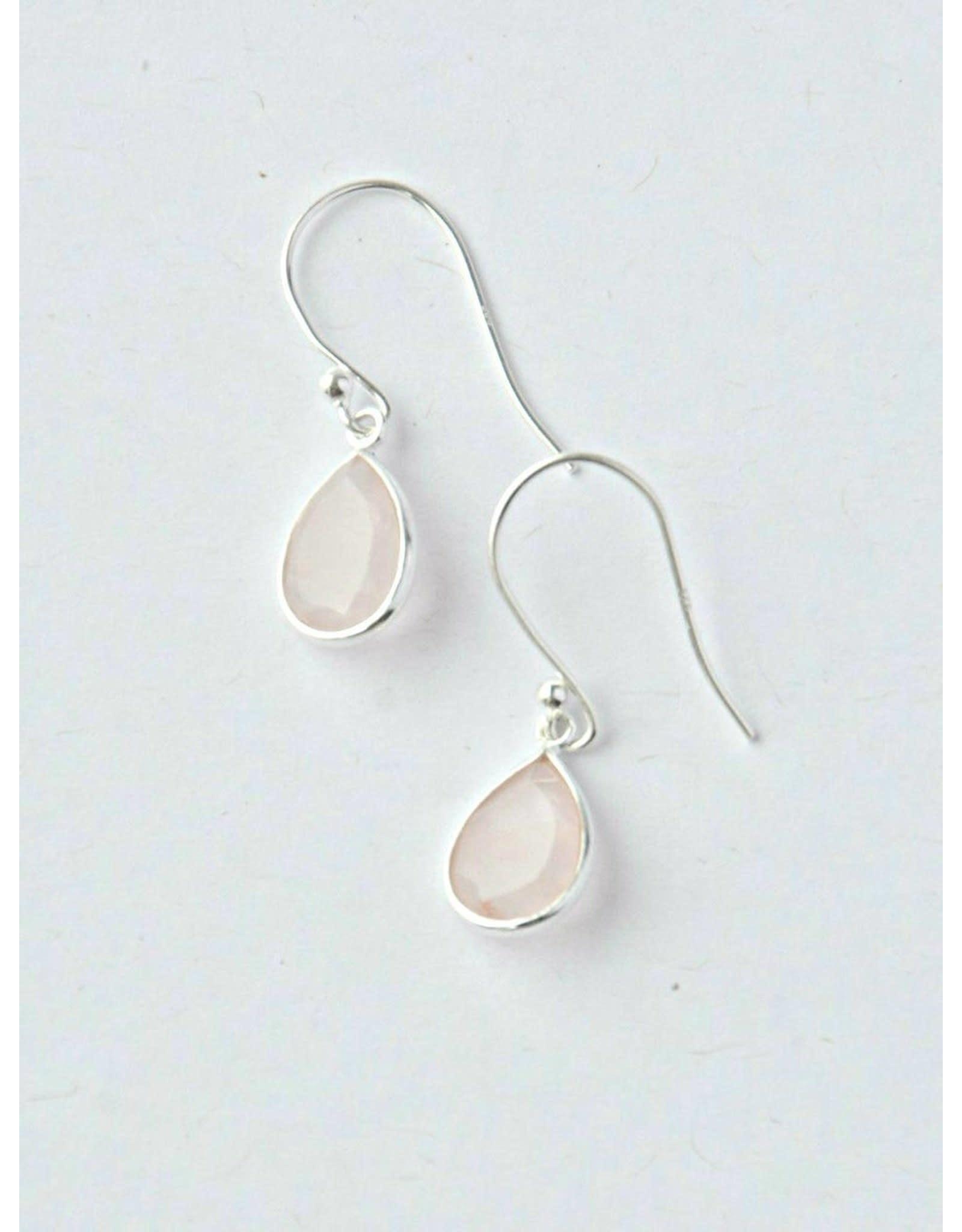 Sterling Rose Quartz Raindrop Earrings