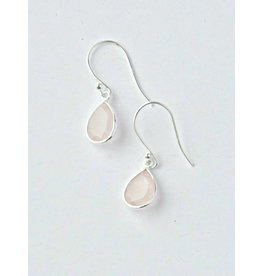 Sterling Rose Quartz Raindrop Earrings, India