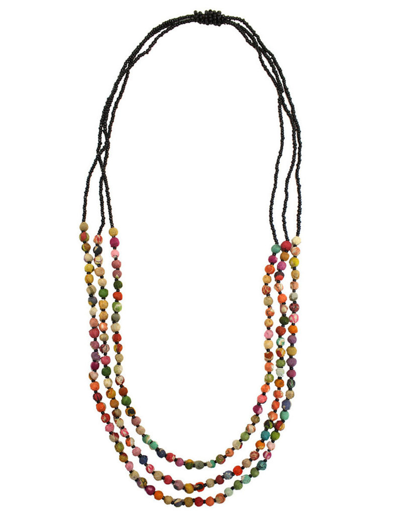 India, Kantha Triple Strand Necklace