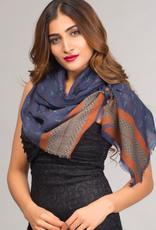 India, Paramita Fine Wool Scarf, Navy and Rust Border