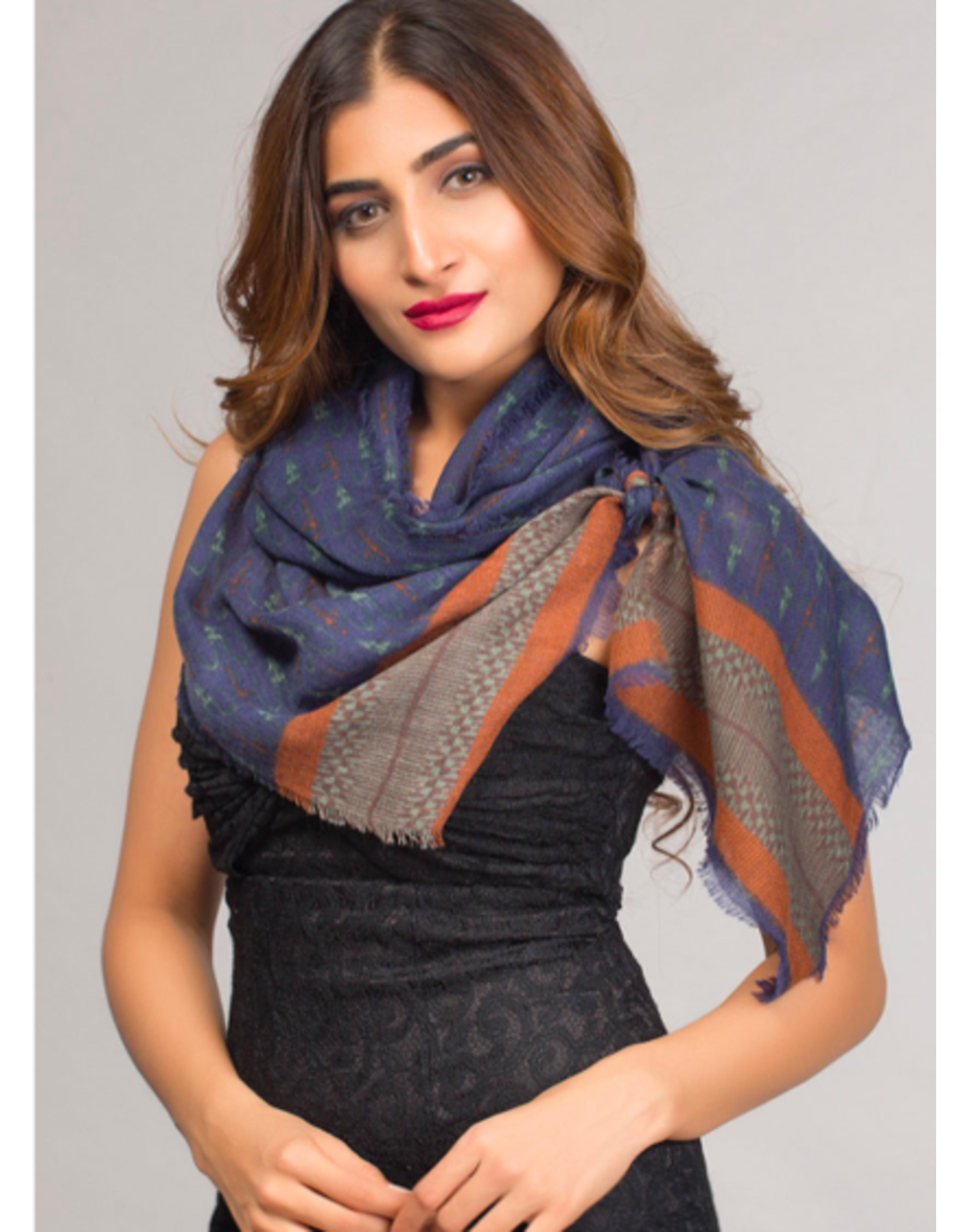 Paramita Fine Wool Scarf, Navy and Rust Border,  India