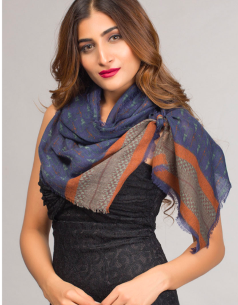 India, Paramita Fine Wool Scarf, Naby and Rust Border