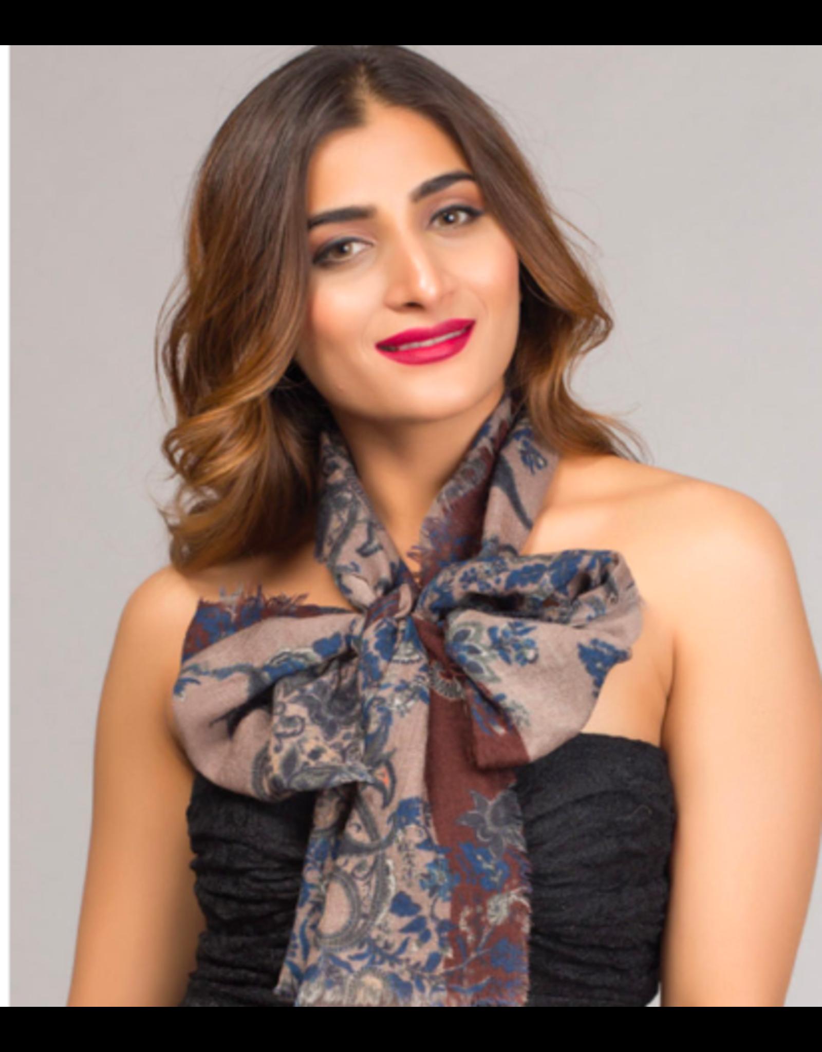 Paramita Fine Wool Scarf, Burgundy Floral,  India