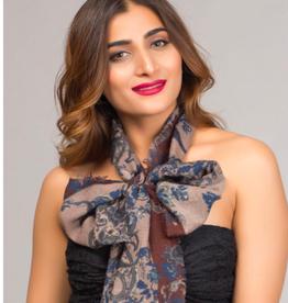 India, Paramita Fine Wool Scarf, Burgundy Floral