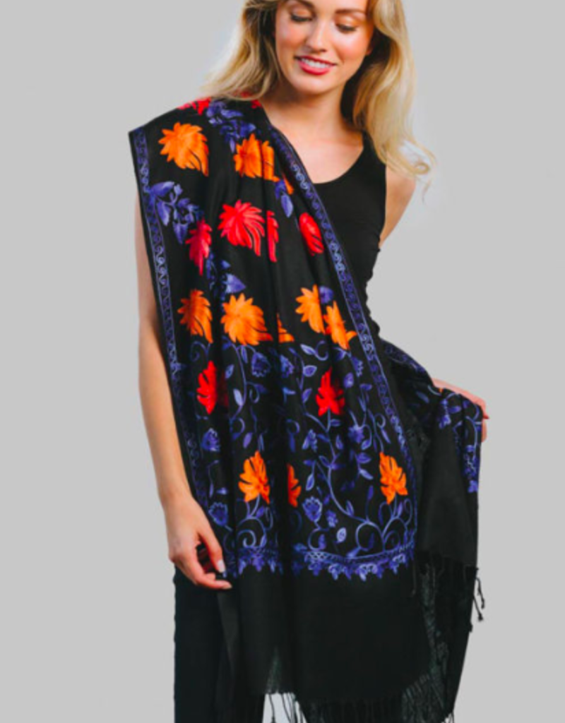 India, Janavi Embroidered Wool Shawl