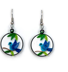 Blue Bird Charm Quilling Earrings