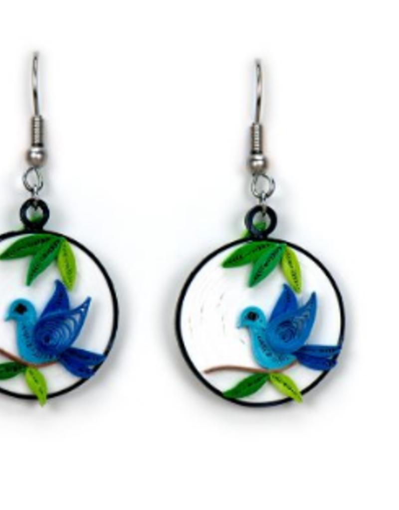 Blue Bird Charm Quilling Earrings