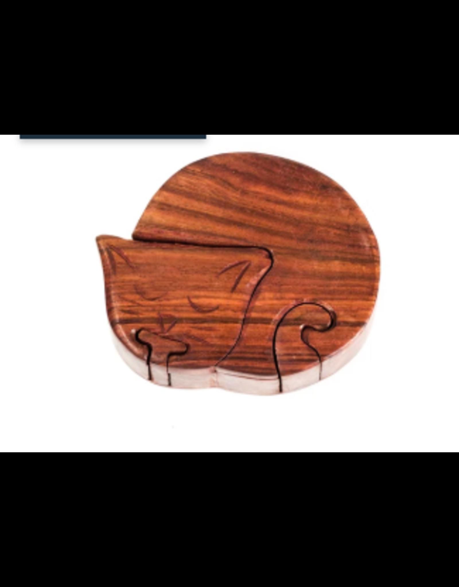 Wood Cat Puzzle Box, India