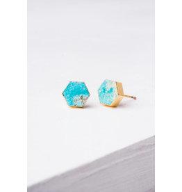 Natalie, Turquoise Hexagon Stud Earrings