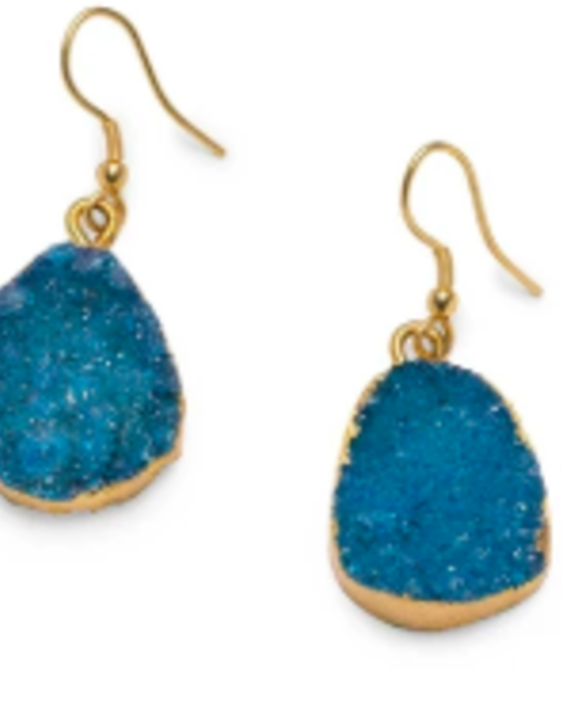 Dark Blue Rishima Druzy Drop Earrings
