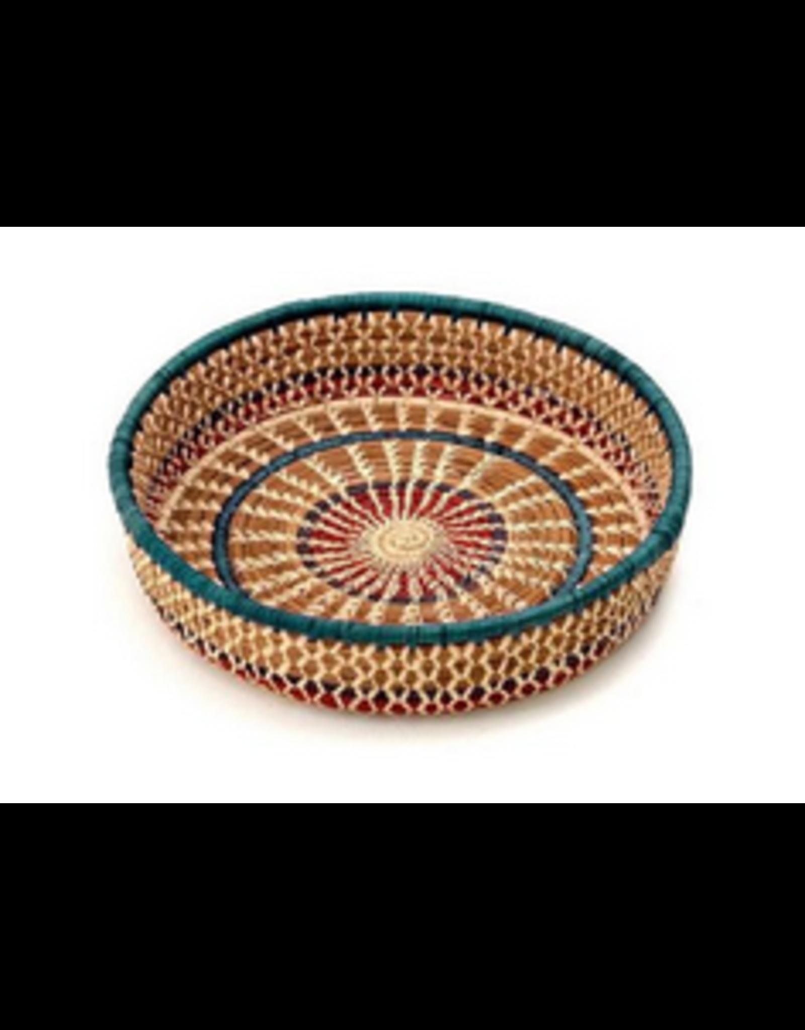 """Round Pinwheel Pine Basket, 9"""", Guatemala"""